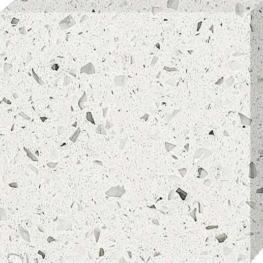 White with glass and Mirror quartz stone slab
